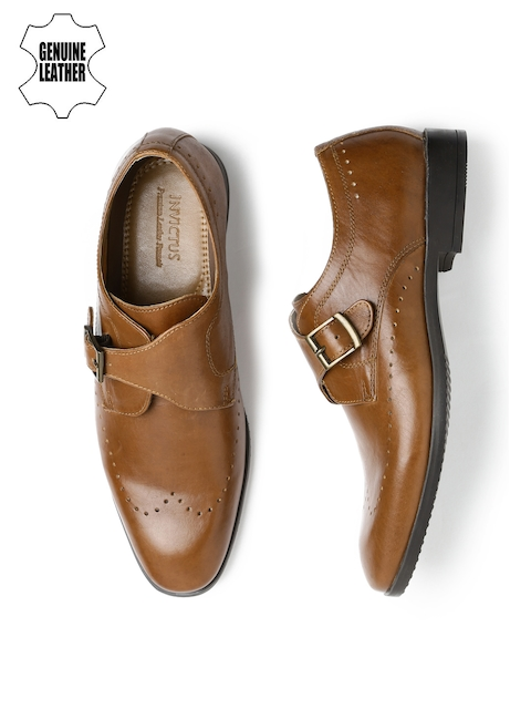 INVICTUS Men Tan Brown Leather Monks
