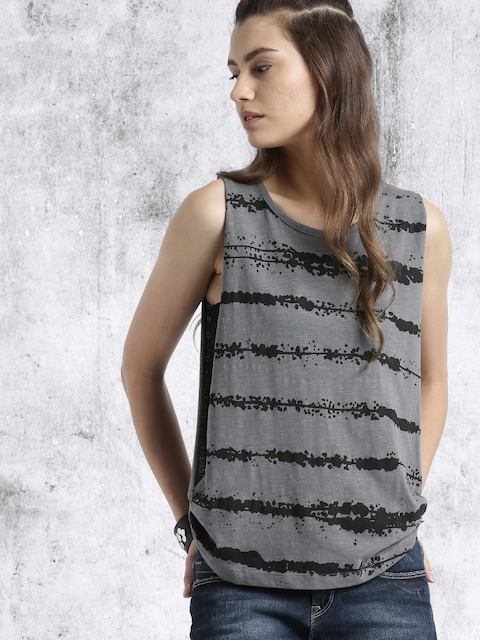 Roadster Women Charcoal Grey Printed Top