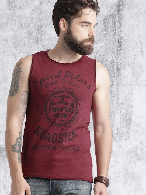 Roadster Men Maroon Printed Round Neck T-shirt