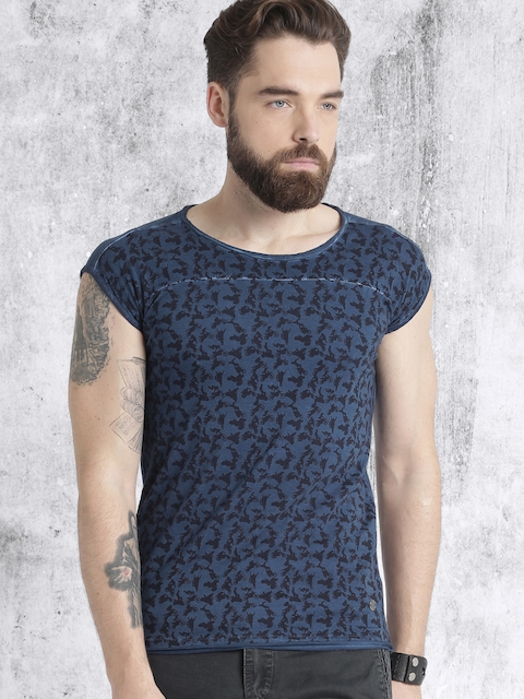 Roadster Men Blue & Black Printed Round Neck T-shirt  available at myntra for Rs.199