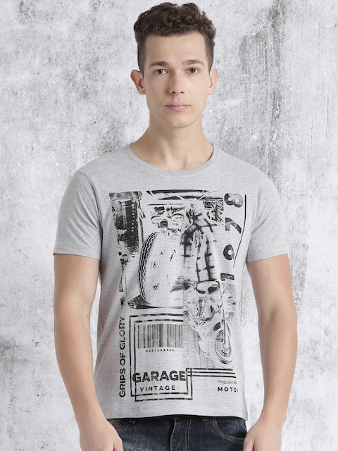 Roadster Men Grey Melange Printed Round Neck T-shirt  available at myntra for Rs.199