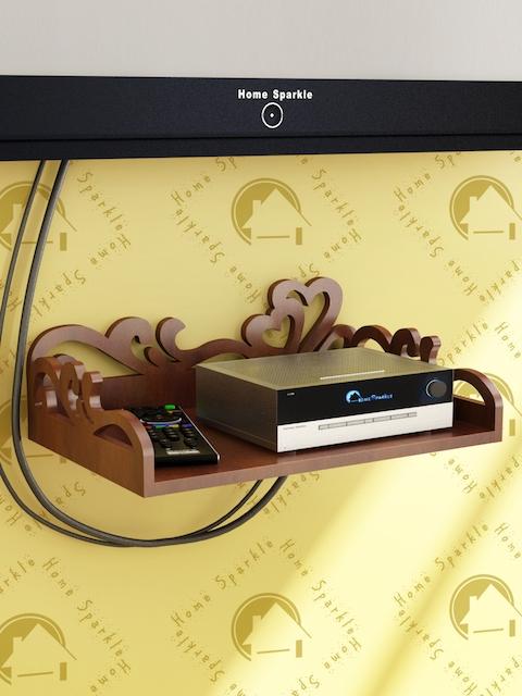 Home Sparkle Brown Carved Set Top Box Holder
