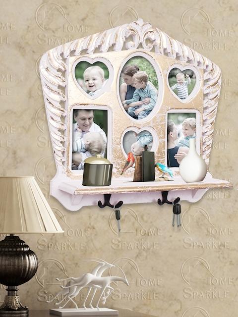 Home Sparkle White Wall Shelf with Photoframes & Key Holders
