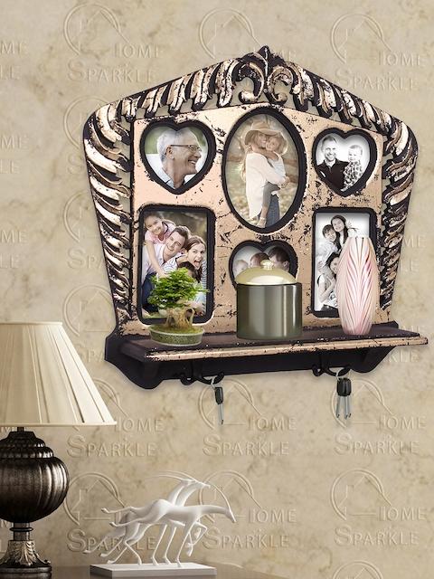 Home Sparkle Black & Gold-Toned Photo Frame Wall Shelf with Hooks