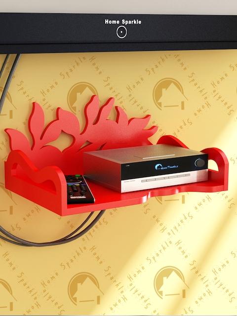 Home Sparkle Red Carved Wooden Set Top Box Holder