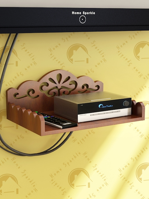 Home Sparkle Brown Carved Wooden Set Top Box Holder