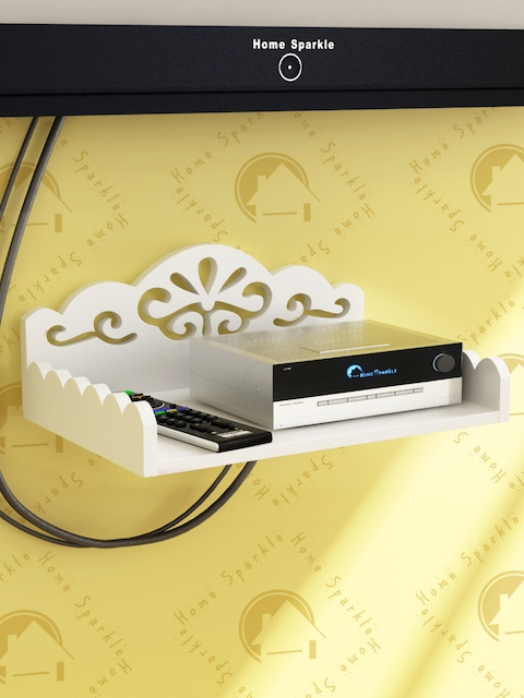 Home Sparkle White Carved Wooden Set Top Box Holder