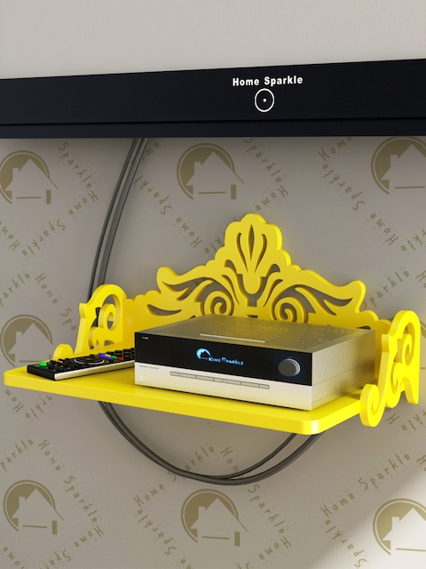 Home Sparkle Yellow Carved Wooden Set Top Box Holder