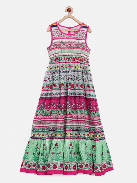 Biba Girls Multicoloured Printed A-Line Midi Dress