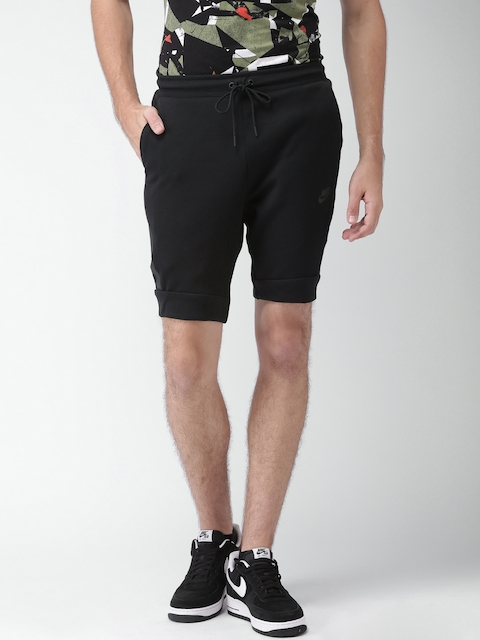 Nike Men Black Solid AS NSW TCH FLC Sports Shorts