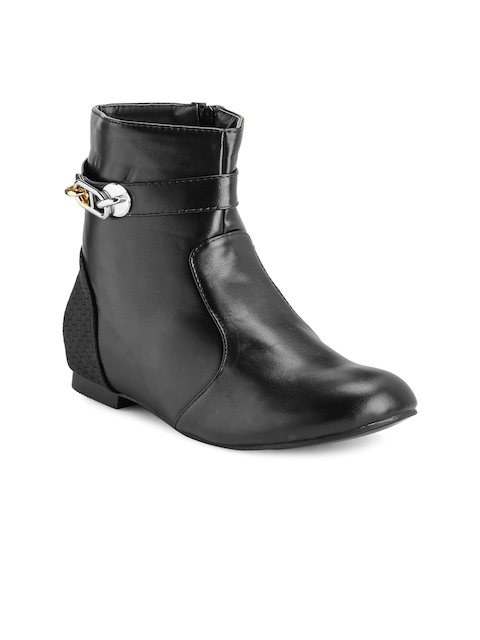 Nell Women Black Solid Flat Boots