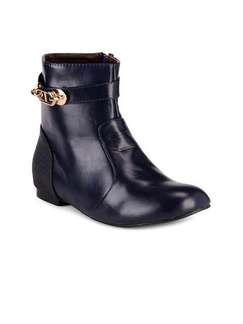 Nell Women Blue Solid Flat Boots