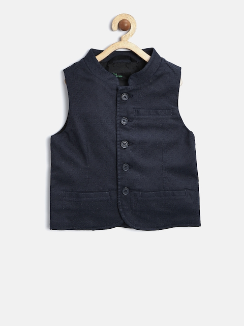 United Colors of Benetton Boys Navy Patterned Waistcoat