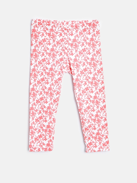 United Colors of Benetton Girls Off-White Floral Print Leggings