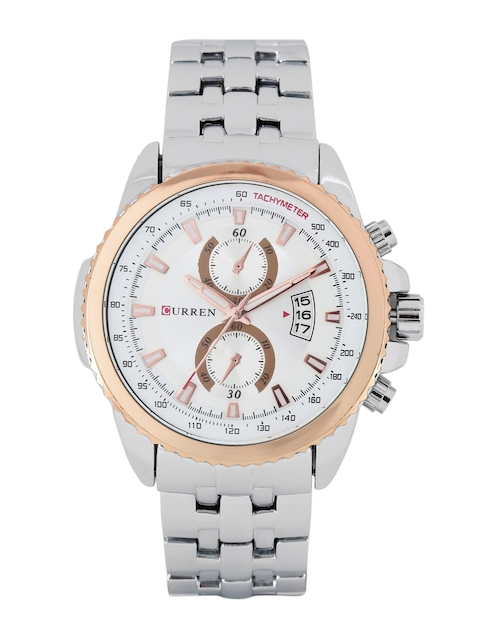 Curren Men White & Silver-Toned Analogue Watch CUR27