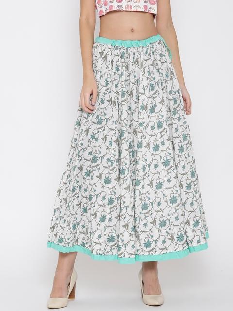 Biba White & Blue Floral Print Flared Maxi Skirt