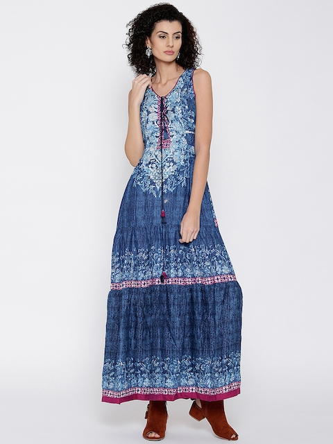 Biba Women Blue Printed Maxi Dress