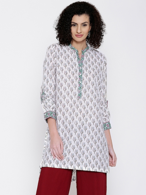 Biba Women White Printed Straight Kurta  available at myntra for Rs.449