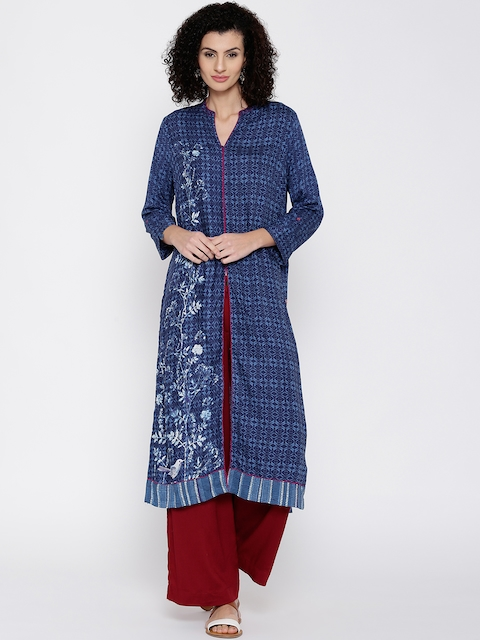 Biba Women Blue Printed Straight Kurta