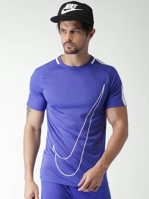 Nike Men Blue Printed Round Neck AS M NK DriFIT T-shirt