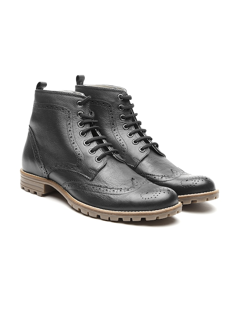 United Colors of Benetton Men Black Genuine Leather Boots