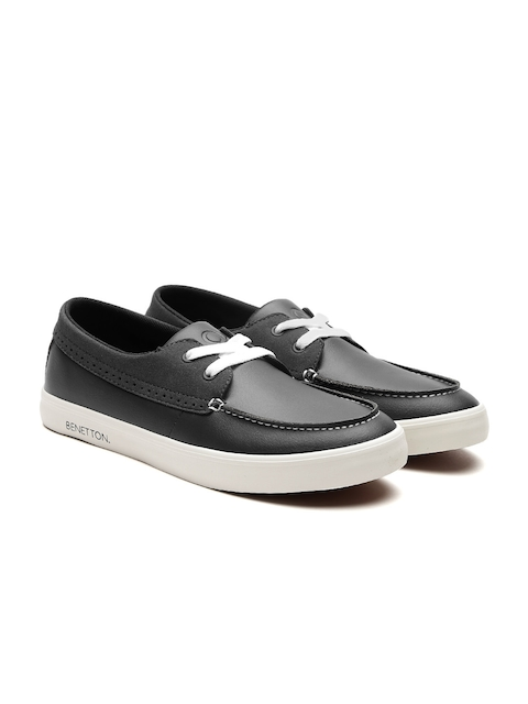 United Colors of Benetton Men Black Boat Shoes