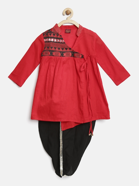 Twisha Boys Red & Black Embroidered Angrakha Kurta & Dhoti Set
