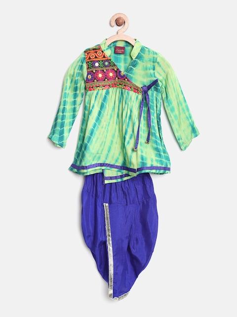 Twisha Boys Green & Blue Tie-Dyed Angrakha Kurta & Dhoti Set