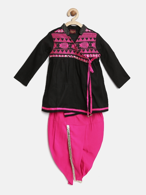 Twisha Boys Black & Pink Embroidered Angrakha Kurta Dhoti Set