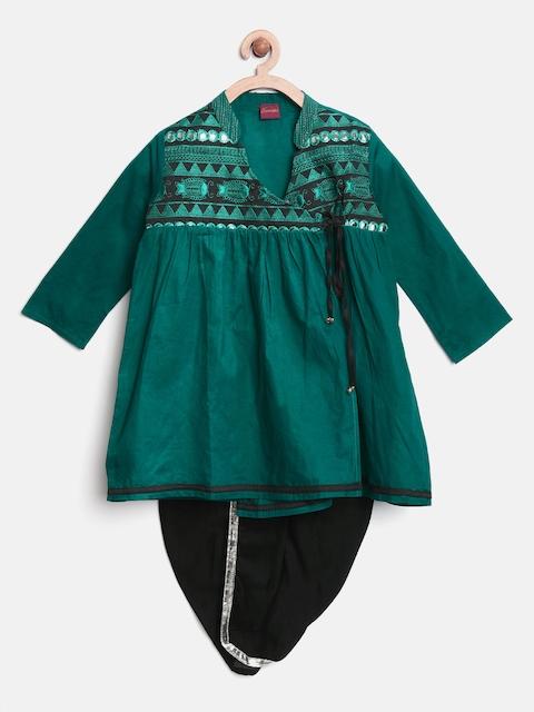 Twisha Boys Green & Black Embroidered Angrakha Dhoti Set