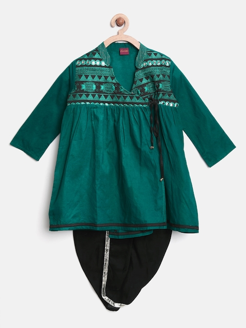 Twisha Boys Green & Black Embroidered Angrakha Kurta Dhoti Set