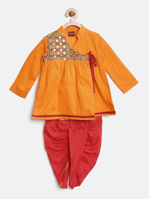 Twisha Boys Mustard Yellow & Red Embroidered Angrakha Dhoti Set
