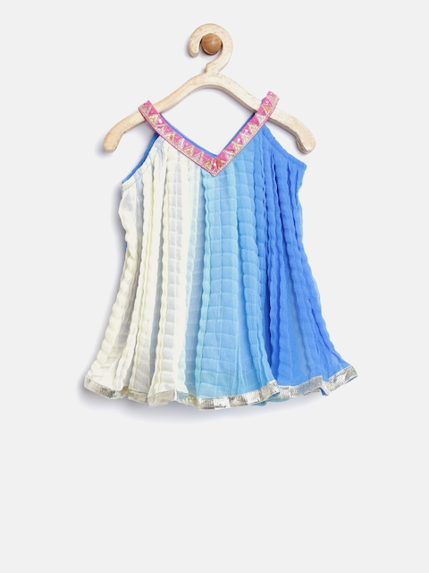 Twisha Girls Blue & Cream-Coloured Ombre-Dyed A-Line Kurta with Crushed Effect