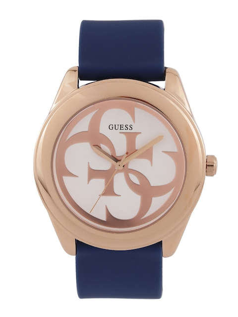 GUESS Women Off-White & Rose Gold-Toned Dial Watch W0911L6