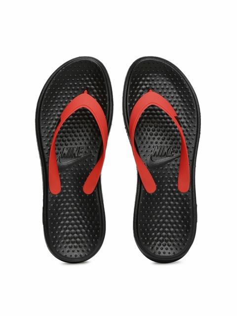 Nike Men Red & Black Solay Thong Flip-Flops
