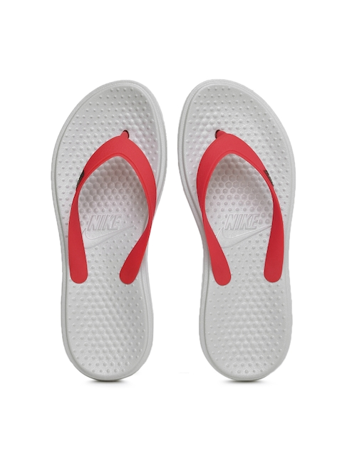 Nike Men Red & Grey Printed SOLAY Flip-Flops