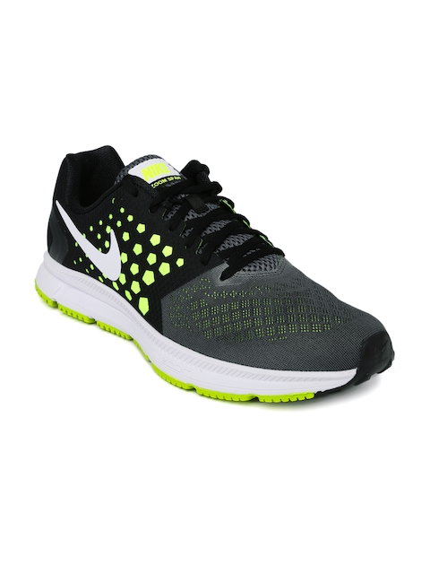 Nike Men Grey & Black Zoom Span Colourblocked Running Shoes