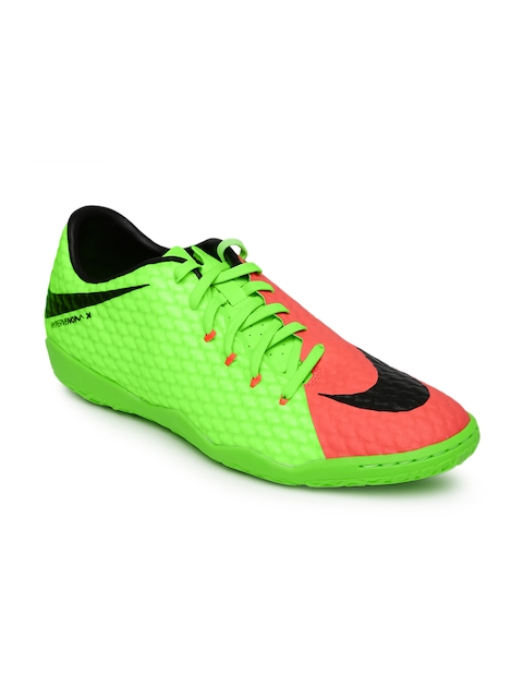 Nike Men Fluorescent Green HYPERVENOMX PHELON III IC Football Shoes  available at myntra for Rs.2188