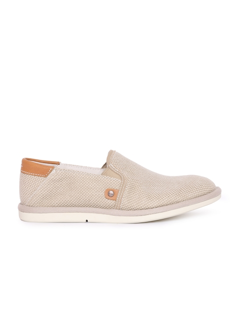 Timberland Men Beige Woven Slip-On Sneakers