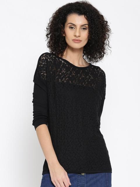 United Colors of Benetton Women Black Lace Top