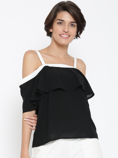 United Colors of Benetton Women Black Bardot Top