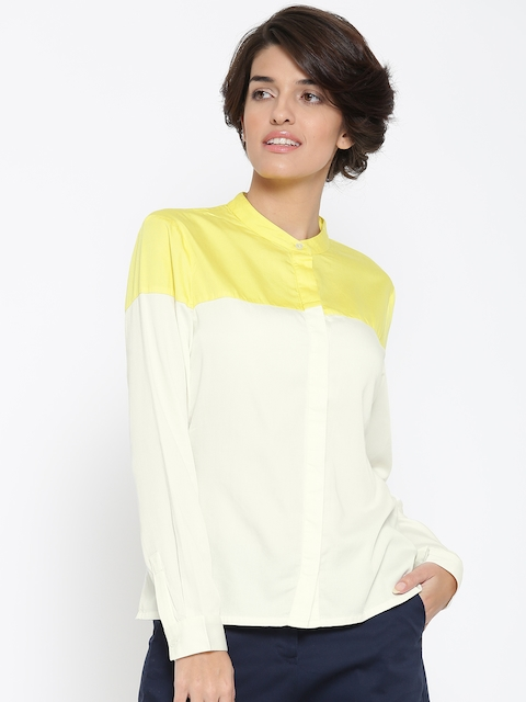 United Colors of Benetton Women Off-White Colourblocked Casual Shirt