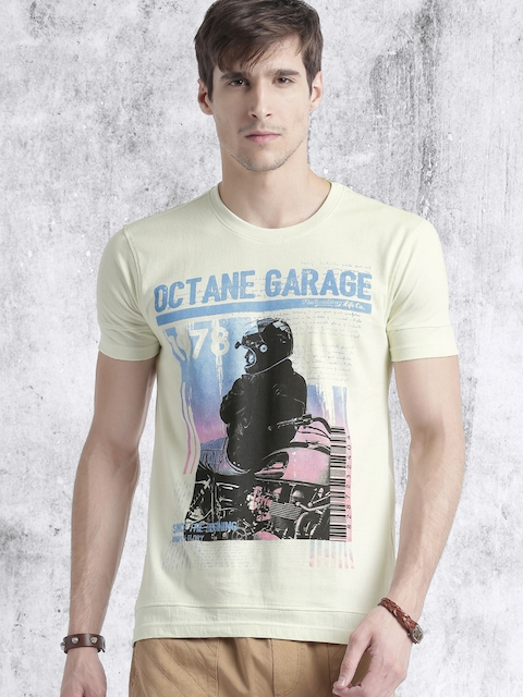 Roadster Men Off-White Printed Round Neck T-shirt  available at myntra for Rs.179