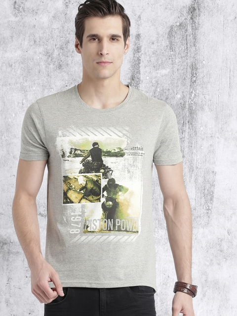 Roadster Men Grey Melange Printed Round Neck T-shirt  available at myntra for Rs.179