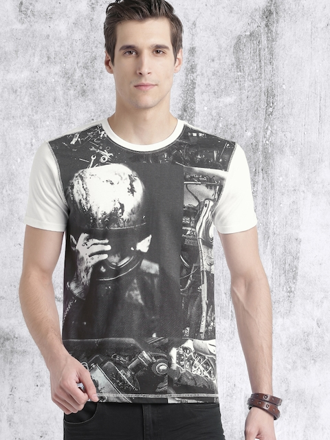 Roadster Men Black Printed Round Neck T-shirt  available at myntra for Rs.179