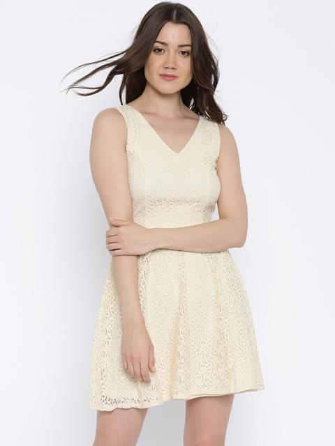 Vero Moda Cream-Coloured Lace Fit and Flare Dress