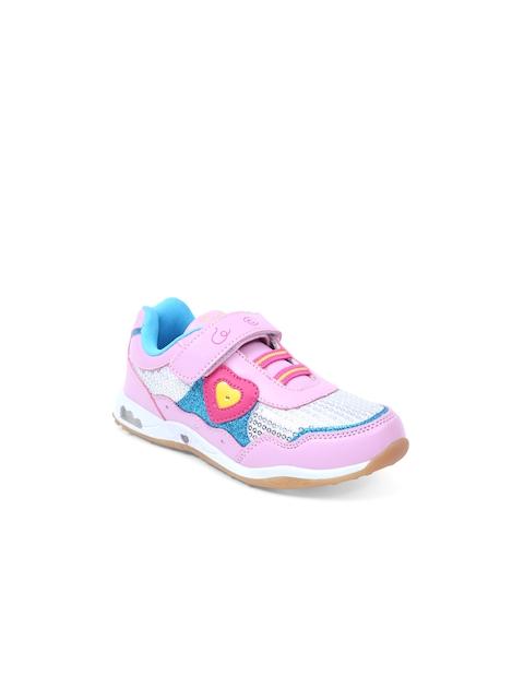 Lilliput Girls Pink Textured Regular Sneakers
