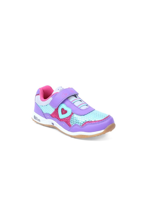 Lilliput Girls Purple Textured Regular Sneakers