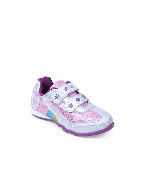 Lilliput Girls Purple & Silver-Toned Colourblocked Regular Sneakers