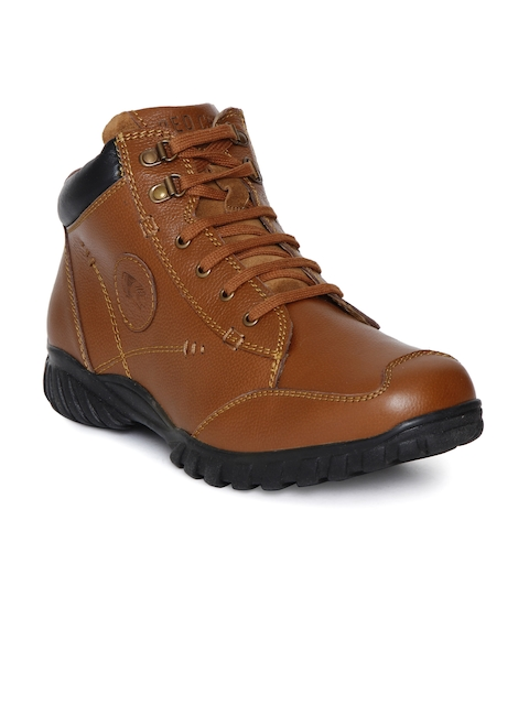 Red Chief Men Brown Solid Leather Mid-Top Flat Boots